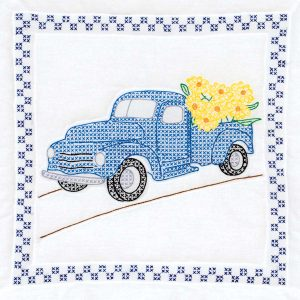 quilt block with old truck