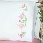 product id 1800296 ceoss stitch lace tulips pillowcases