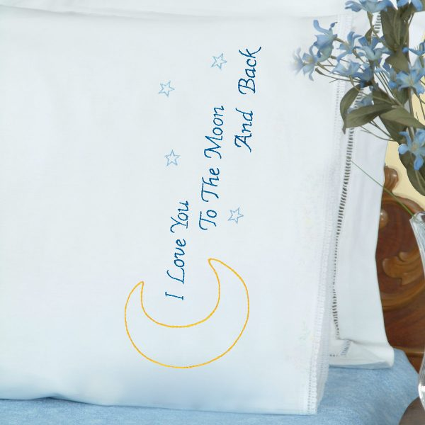 product id 1800658 Love You to the Moon Lace Edge Pillowcases