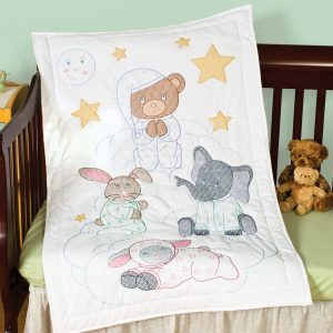 praying bear and friends crib quilt top