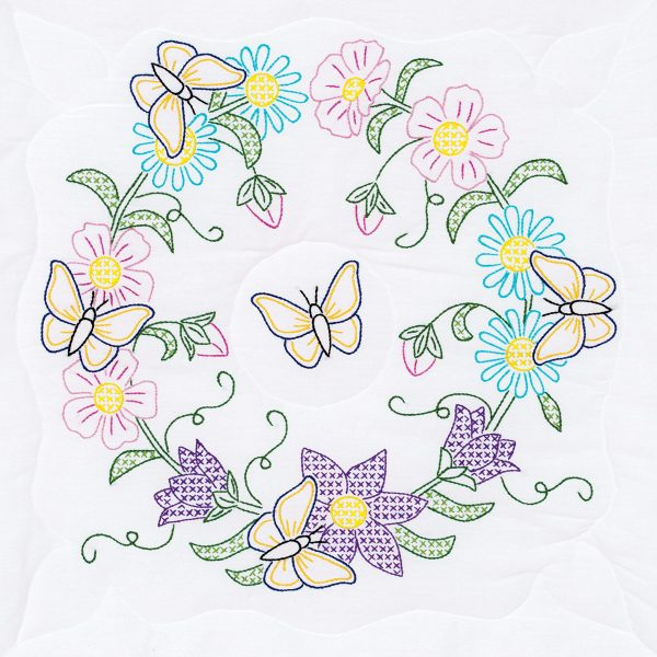 Butterfly Wreath White Quilt Block