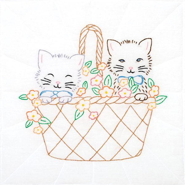 product id 732755 Kittens in a Basket Quilt Block