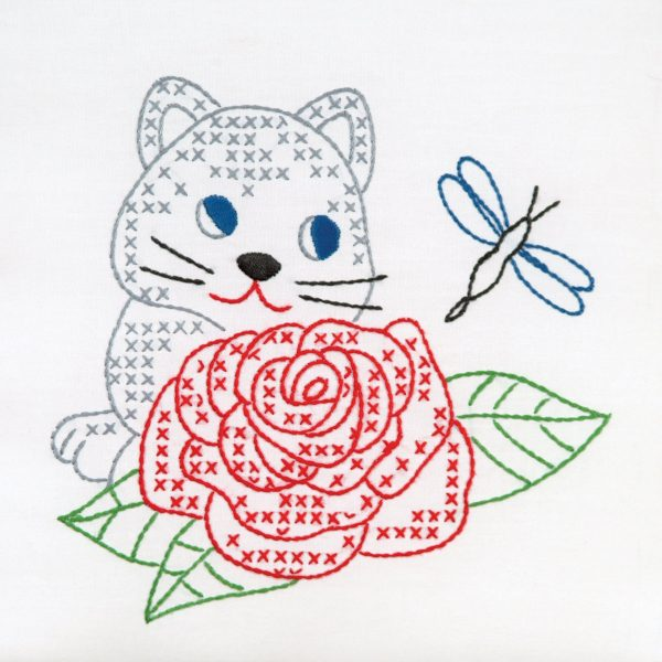 Kitten and Rose 9 inch Quilt Blocks