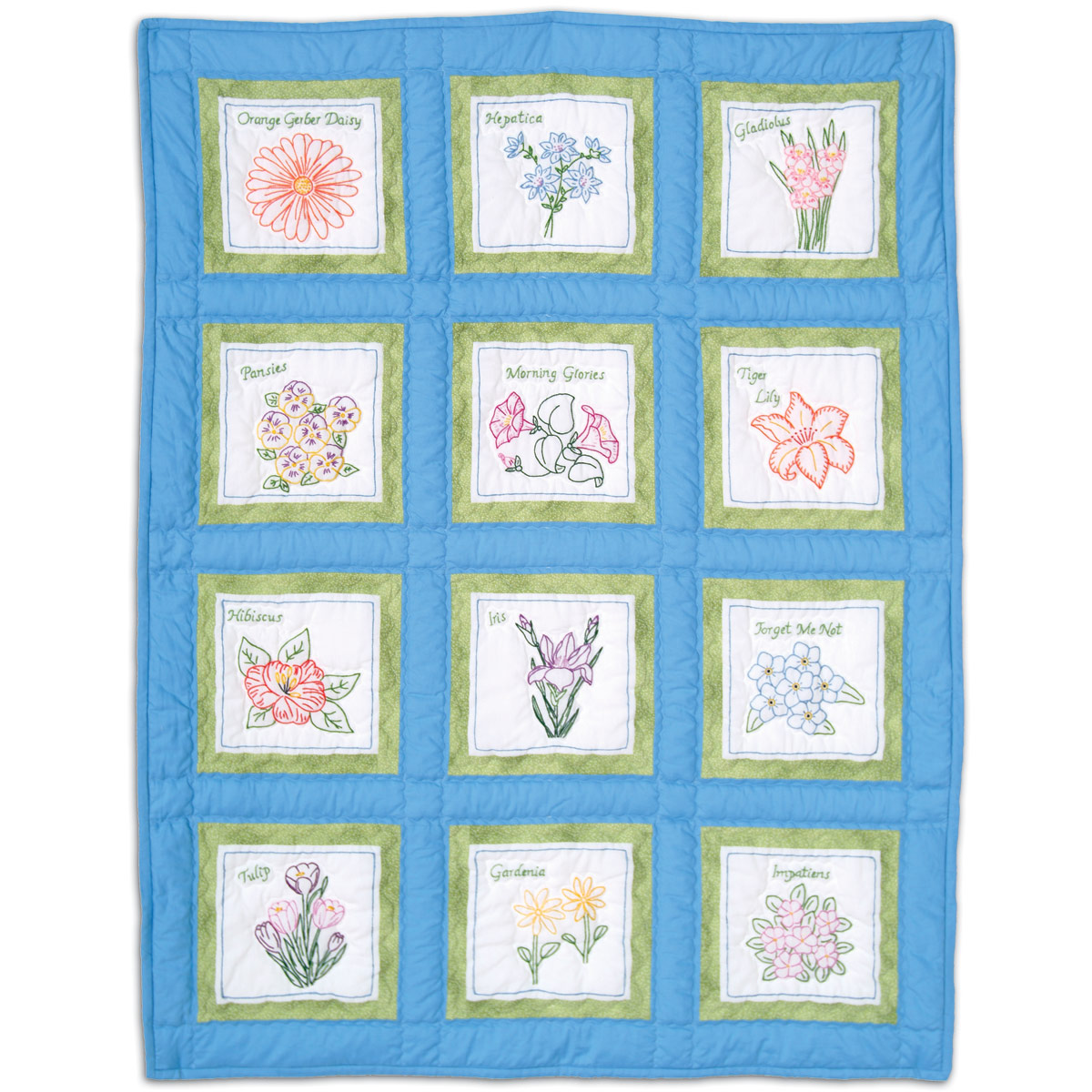 """product id 737535 Flowers 9"""" White Quilt Block Themes"""